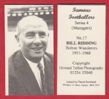 Bolton Wanderers Bill Ridding (S)